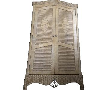 Shabby Chic Style Wicker Armoire