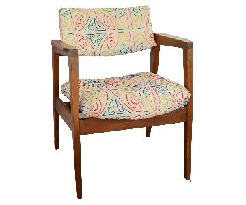 Gunlocke Vintage Reupholstered Walnut Arm Chair