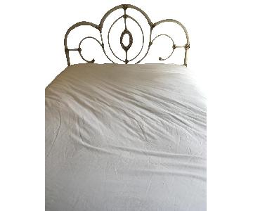 Ballard Designs Antique White Metal Headboard
