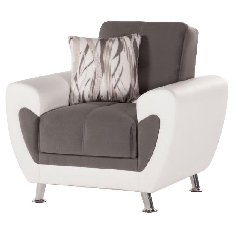Grey Fabric Armchair w/ White Leatherette Trim