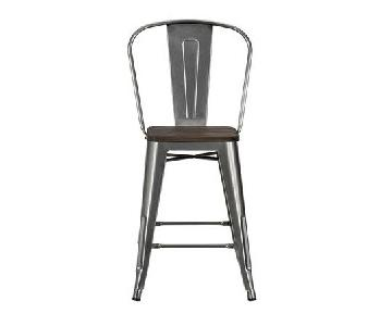DHP Luxor Metal Counter Stool w/ Wood Seat & Backrest