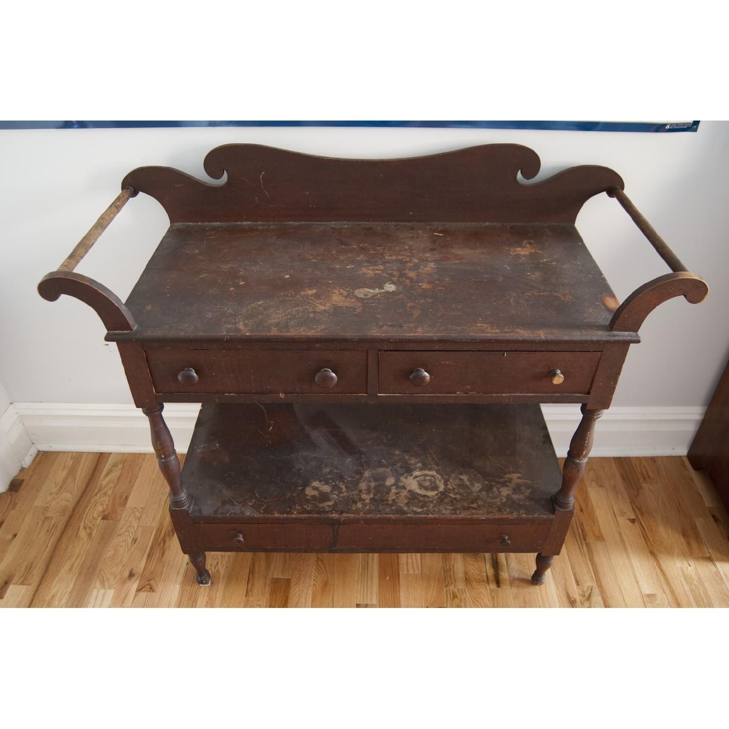 Late 1800s Solid Walnut Shaker-Style Dry Sink-6