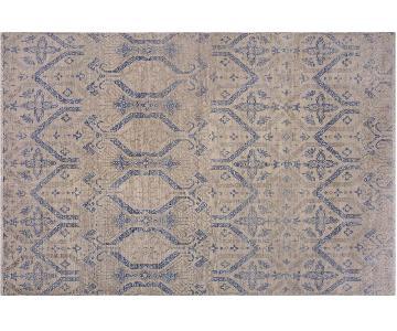 Arshs Oushak Fine Modern Yetta Beige/Blue Wool Rug