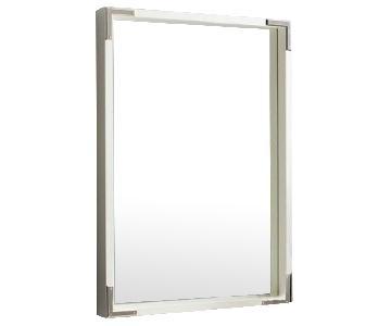 West Elm White Lacquer Square Mirror