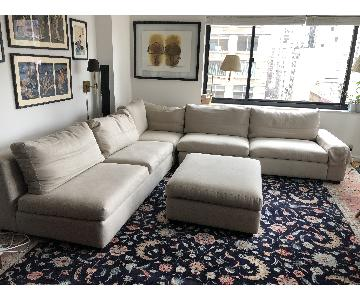 Custom Beige Linen 4-Piece Sectional Sofa & Ottoman