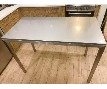 Crate & Barrel Parsons Stainless Steel High Dining Table