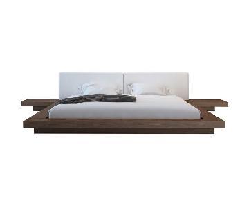 Modloft White & Wenge Leather Platform Bed