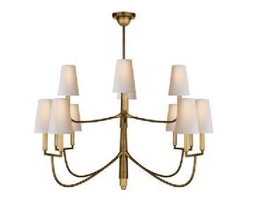 Thomas O'Brien 12 Light Farlane Chandelier in Antique Brass
