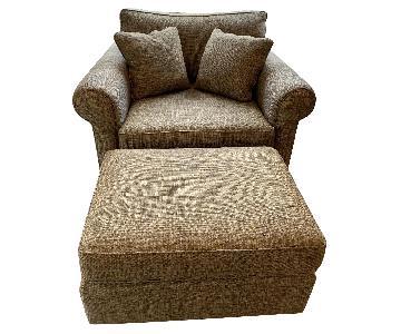 Sherrill Furniture Chair and a Half & Ottoman