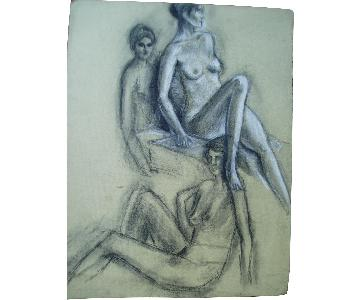 Drawing of a Model - Figurative Session Study 2007 Soho