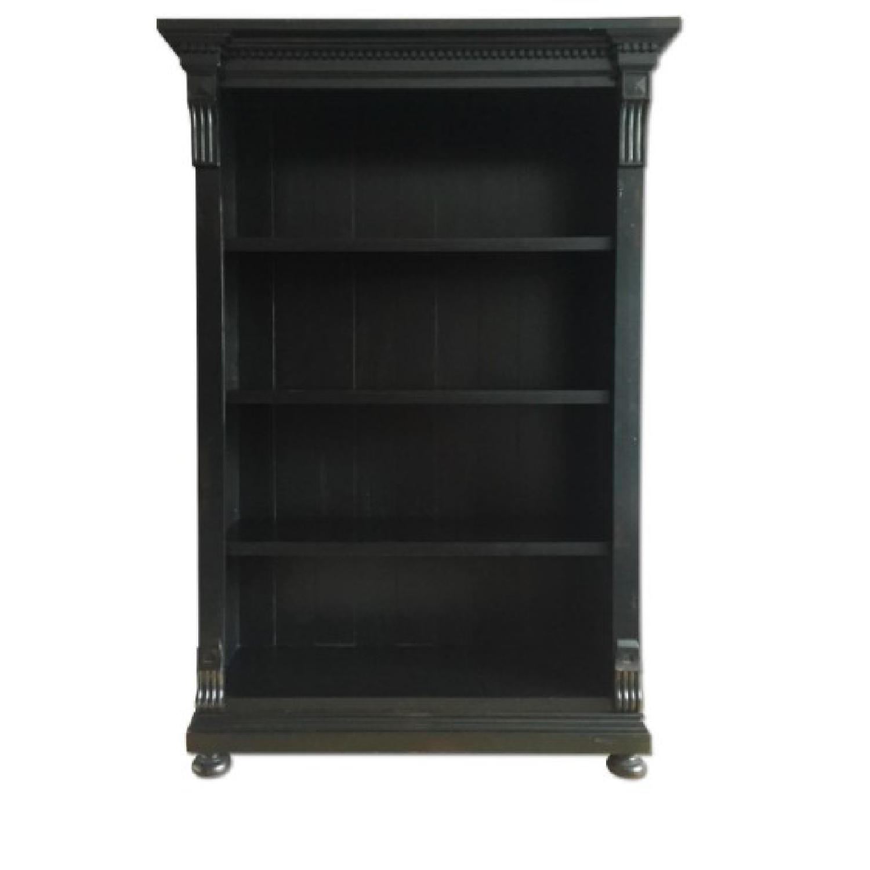 Restoration Hardware Antiqued Black Wood Bookcase