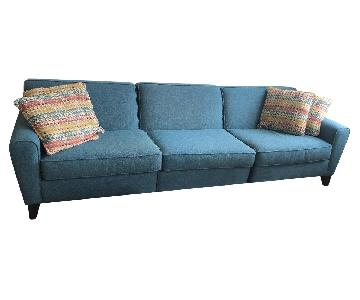 Teal Blue Tweed Fabric 3 Piece Sectional Sofa