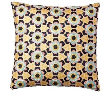 West Elm Gold Geo Patterned Pillow Covers w/ Inserts