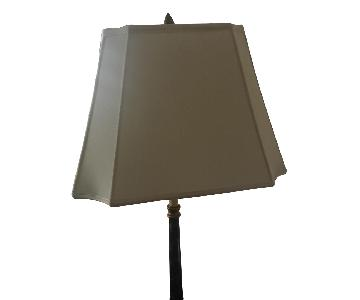 Black & Gold Table Lamp w/ Ivory Silk Shade