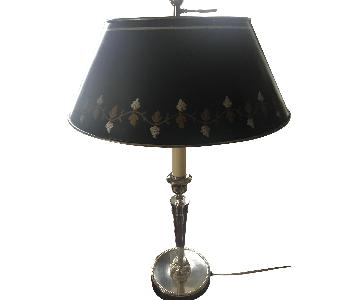 Black Tole Painted Lamp w/ Silver Base & Finial