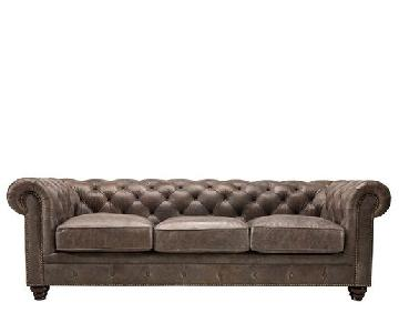 Raymour & Flanigan Brown Leather Tufted Sofa