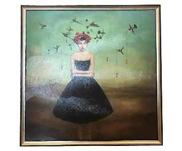 Painting of Girl in Dress w/ Birds
