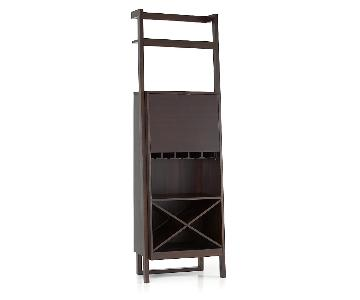 Crate & Barrel Sawyer Mocha Leaning Wine Bar