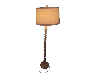 Burled Wood Floor Lamp