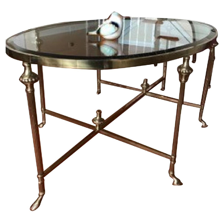 LaBarge Brass & Glass Hoof Feet Coffee Table