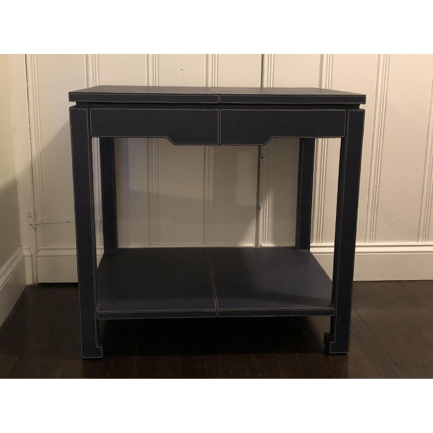 Jonathan Adler Mid-Century Modern Blue Leather Side Table - image-1