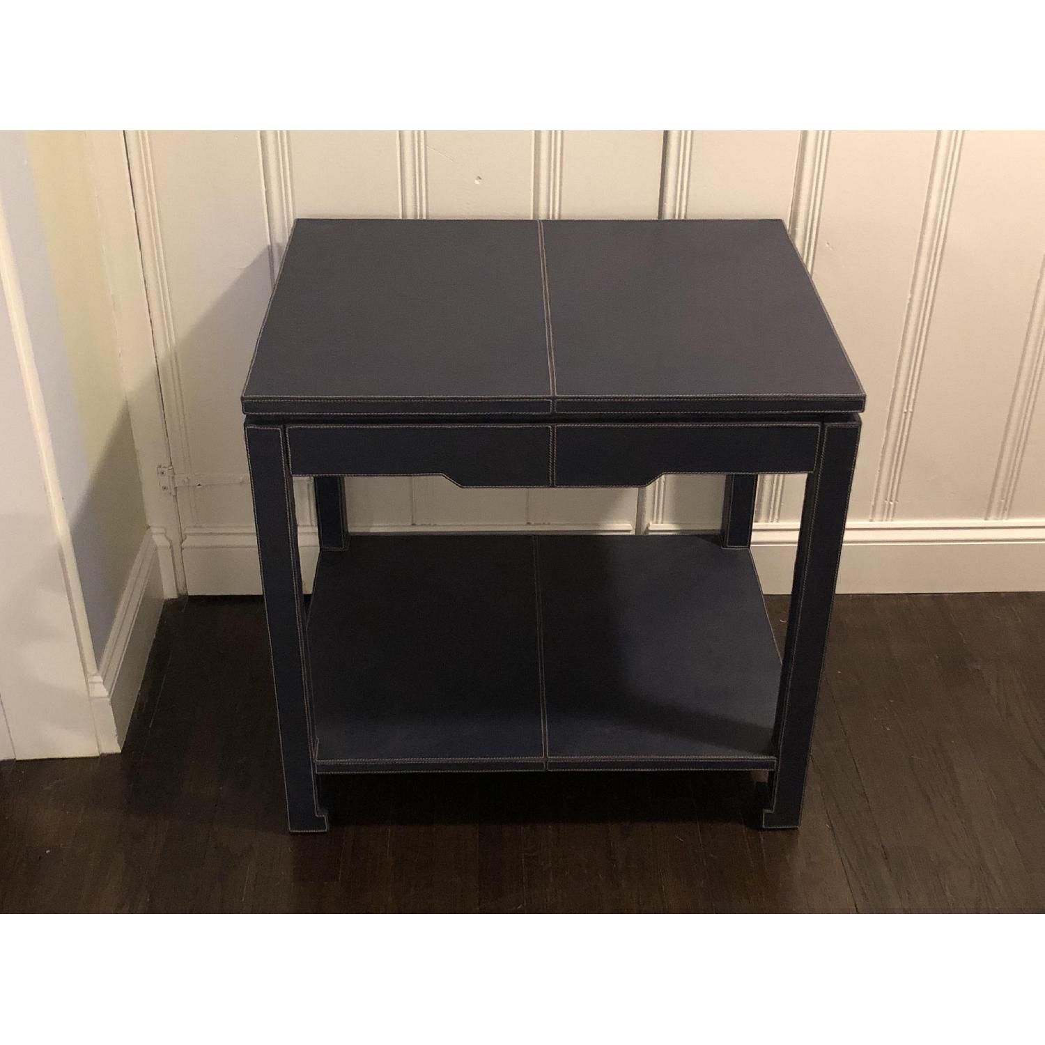 Jonathan Adler Mid-Century Modern Blue Leather Side Table - image-2