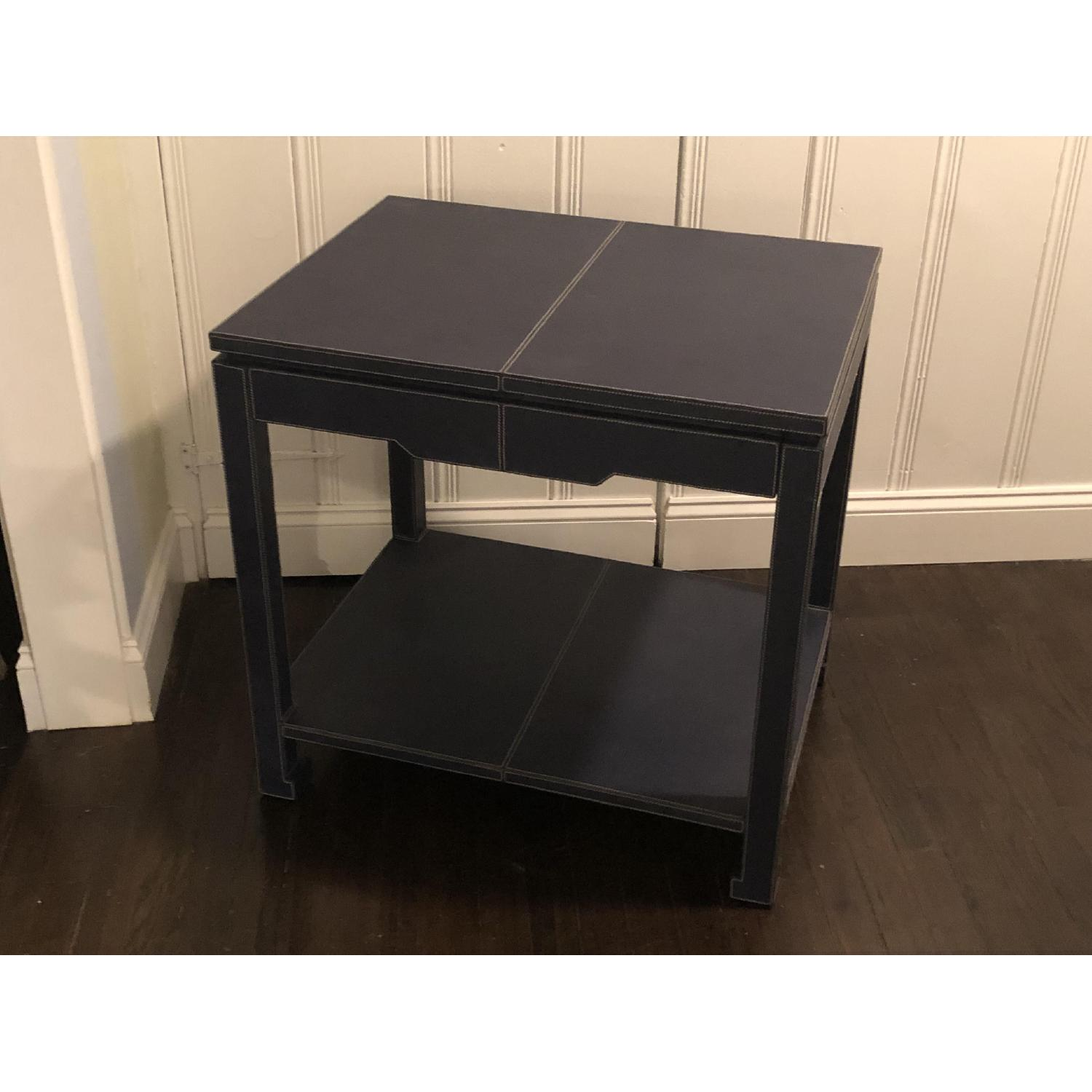 Jonathan Adler Mid-Century Modern Blue Leather Side Table - image-3