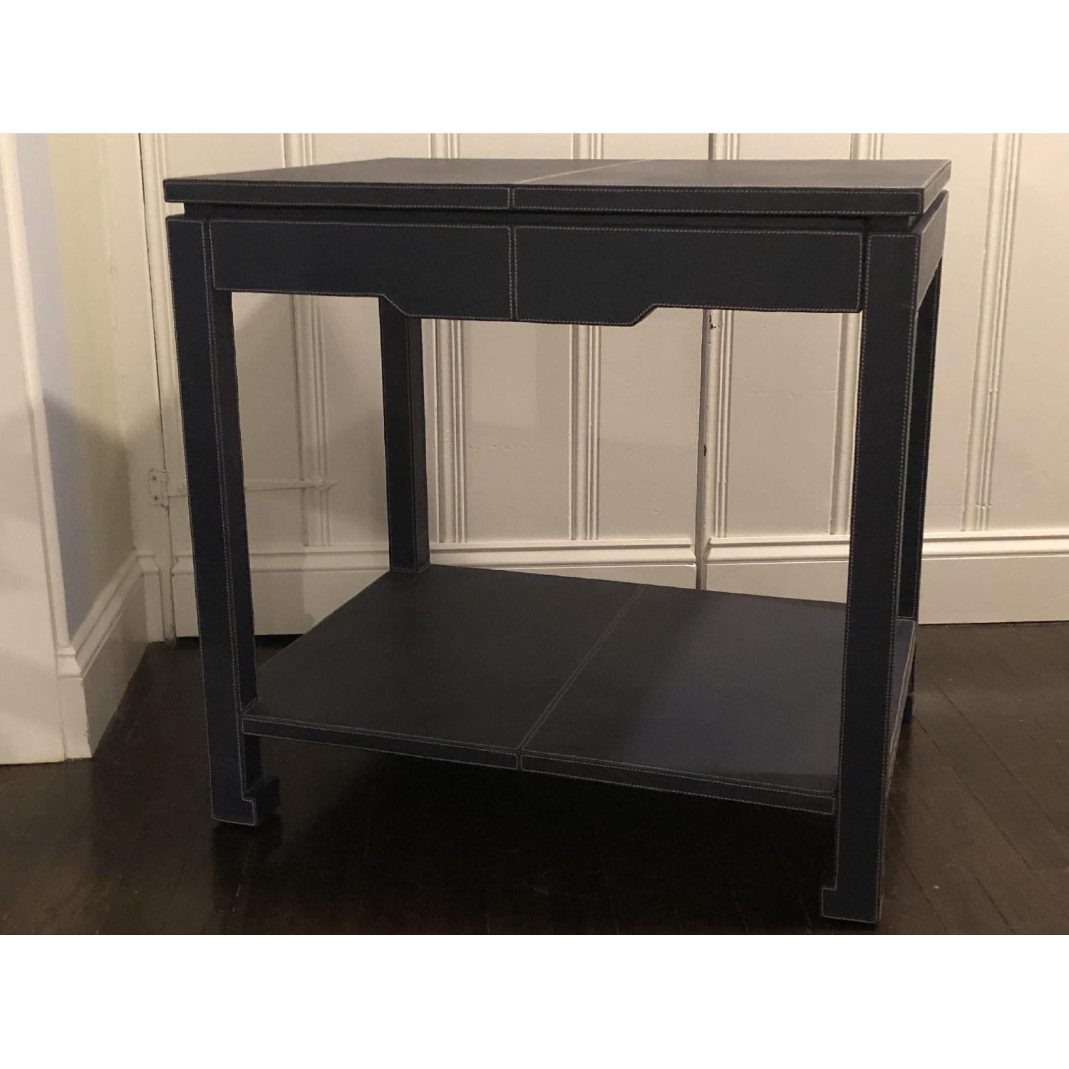 Jonathan Adler Mid-Century Modern Blue Leather Side Table - image-4