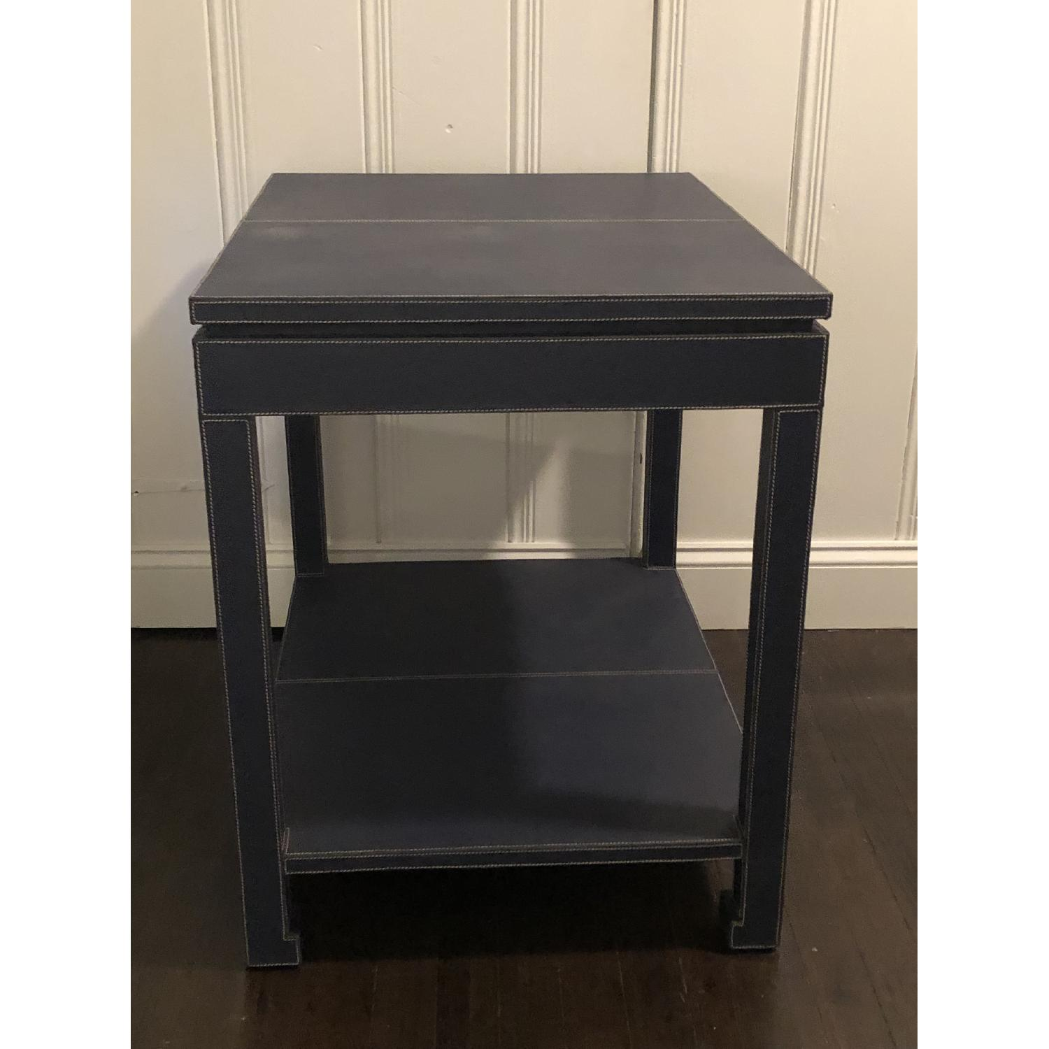 Jonathan Adler Mid-Century Modern Blue Leather Side Table - image-5