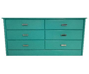 Vintage Turquoise Blue Dresser w/ Custom Mirrored Handles
