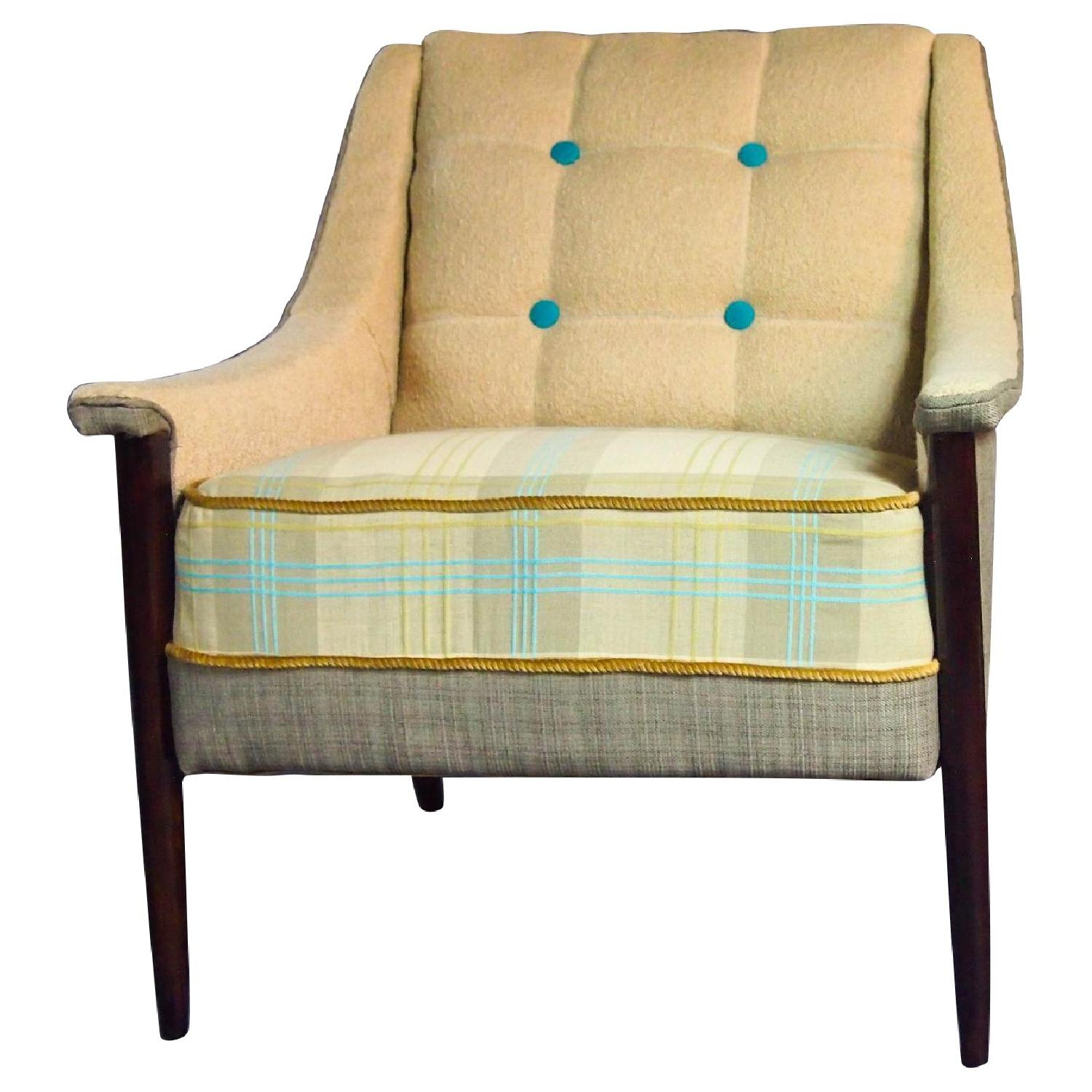 Reupholstered Mid Century Armchair