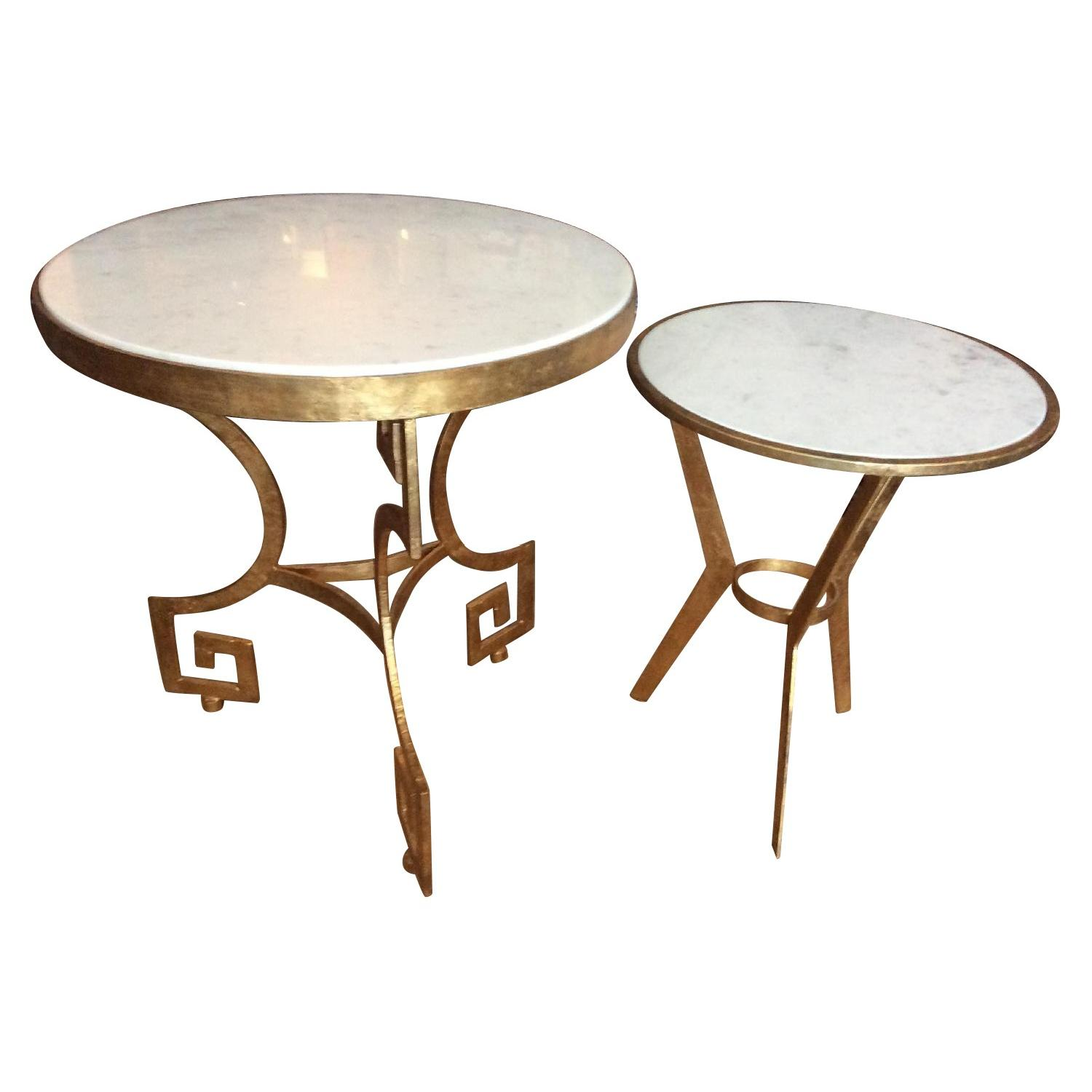 Gold Metal Nesting Tables w/ White Marble Top