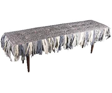Gray Bench w/ Hand-Painted Linen Textiles