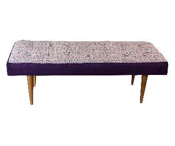 Handmade Bench w/ Handwoven Fabric Seat