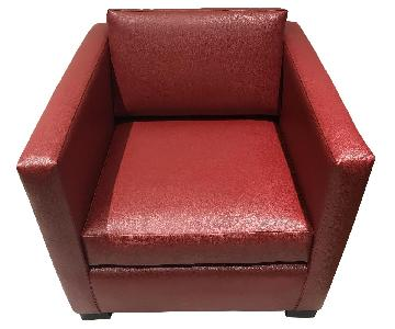 Desiron Red Pebbled Faux Leather Club Chair