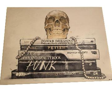 Skull on Books Canvas