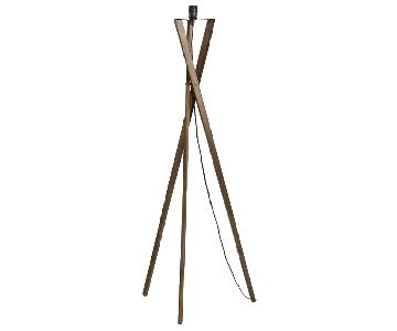 World Market Walnut Wood Tripod Austin Floor Lamp w/ Shade