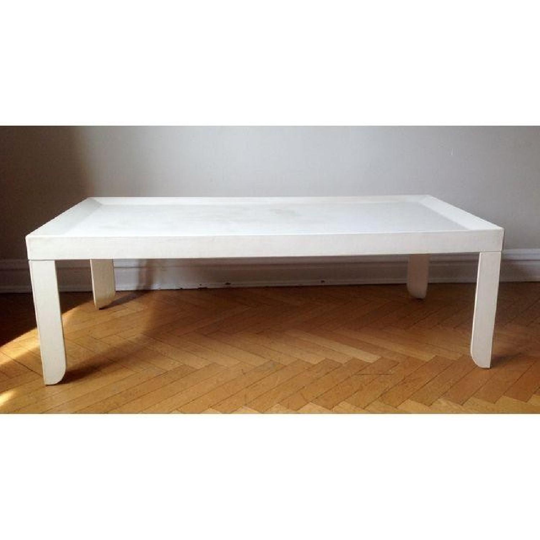 Poltrona Frau Creme Leather Coffee Table - image-1