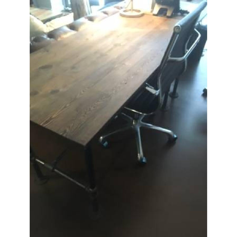Industrial Reclaimed Heart Pine Wood Table/Work Station Desk - image-1