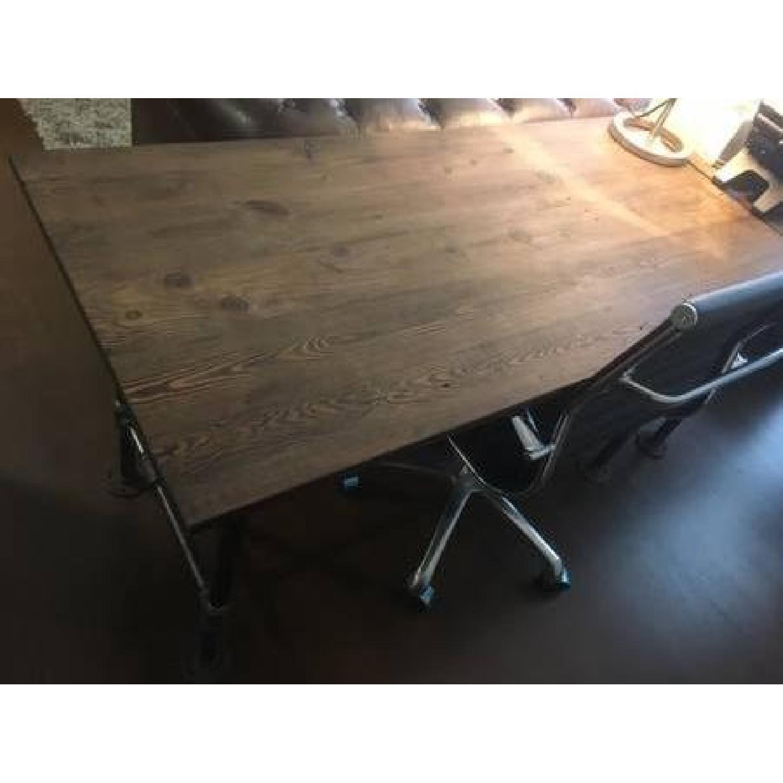 Industrial Reclaimed Heart Pine Wood Table/Work Station Desk - image-3