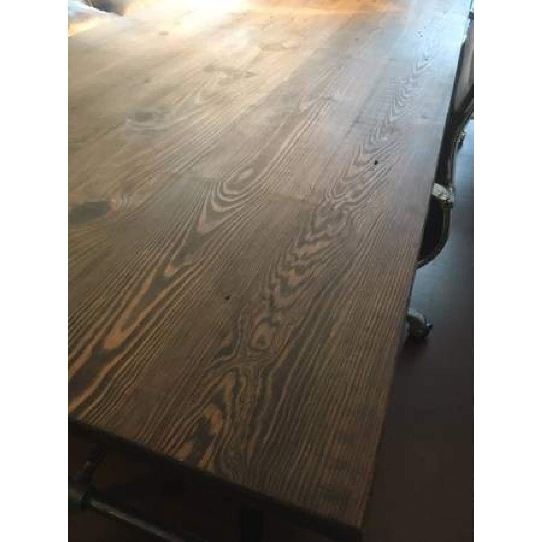 Industrial Reclaimed Heart Pine Wood Table/Work Station Desk - image-4