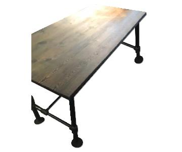 Industrial Reclaimed Heart Pine Wood Table/Work Station Desk