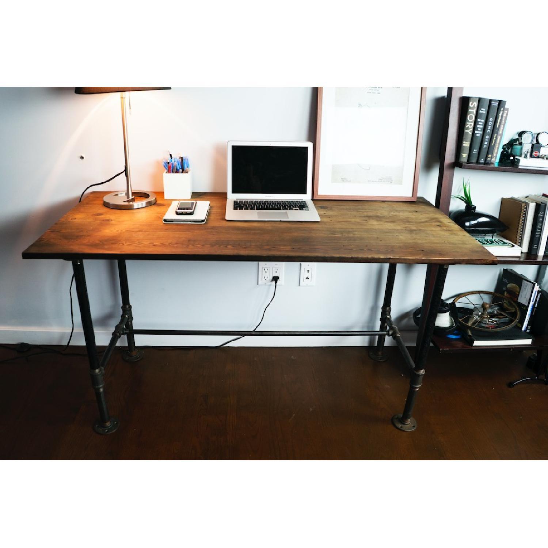 Industrial Reclaimed Heart Pine Wood Table/Work Station Desk - image-6