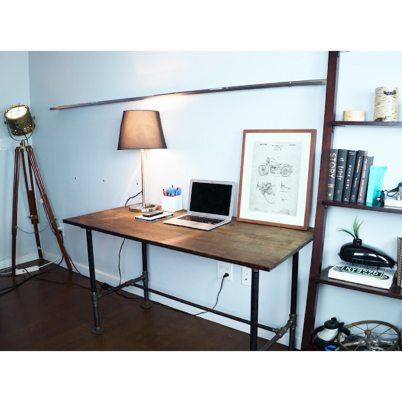 Industrial Reclaimed Heart Pine Wood Table/Work Station Desk - image-7