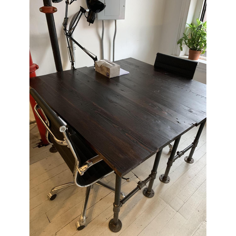 Industrial Reclaimed Heart Pine Wood Table/Work Station Desk - image-10