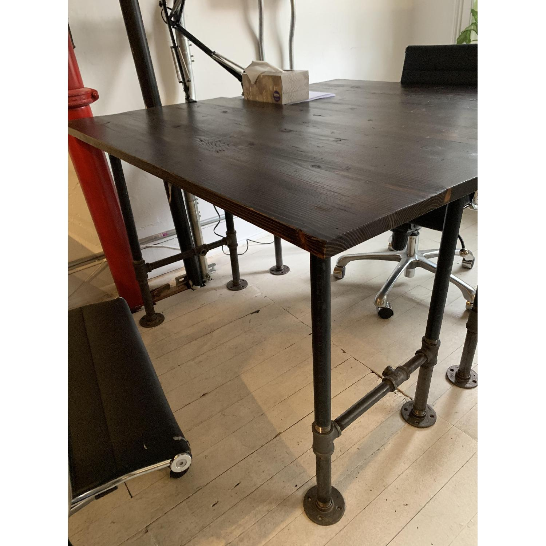 Industrial Reclaimed Heart Pine Wood Table/Work Station Desk - image-11