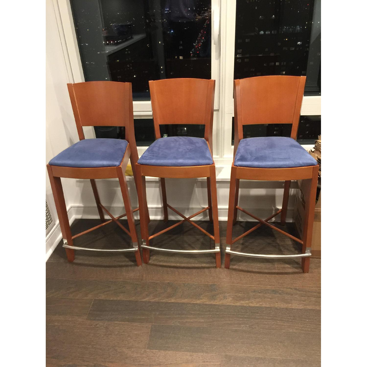 The Morson Collection Cherry Veneer & Ultrasuede Dining Stools - image-1