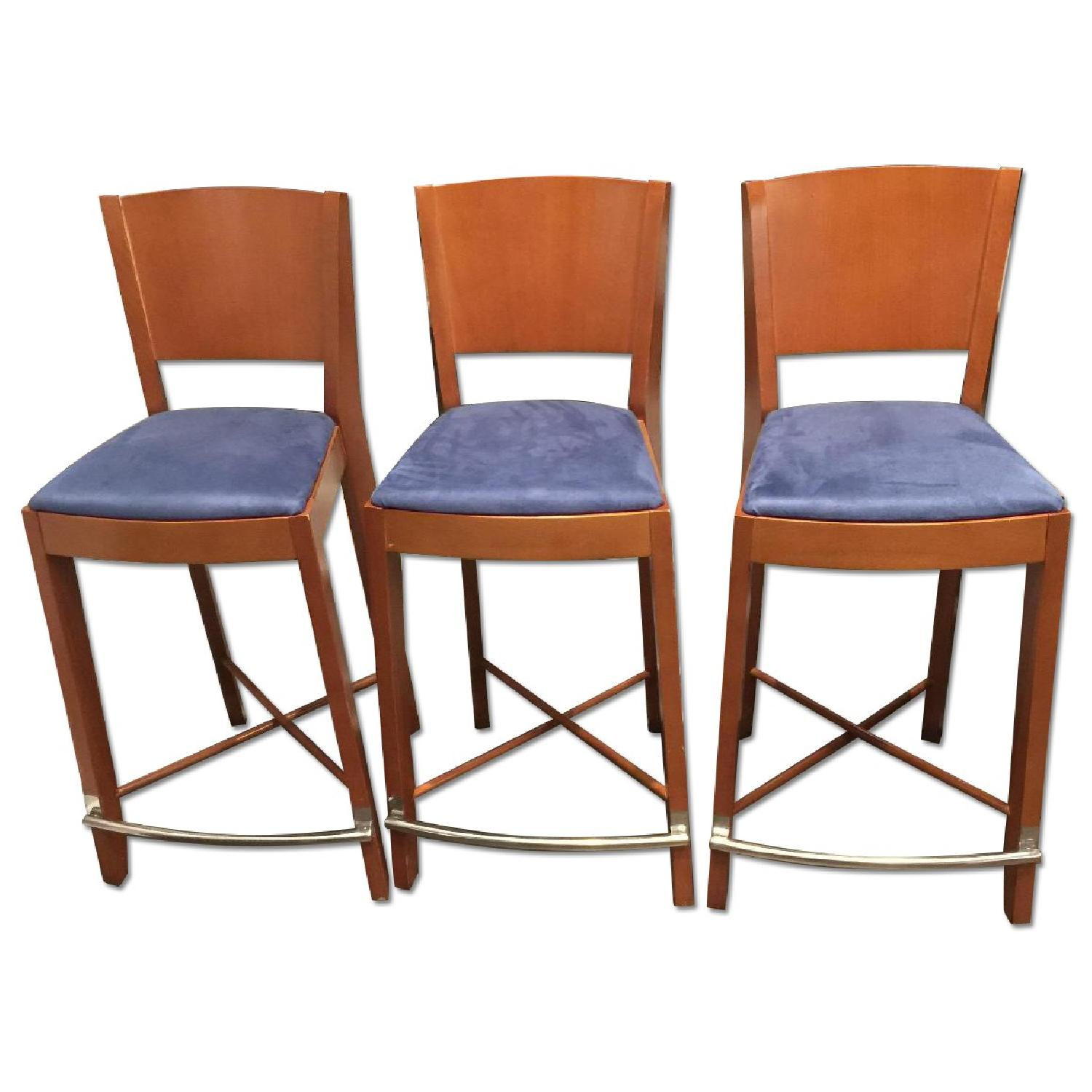The Morson Collection Cherry Veneer & Ultrasuede Dining Stools - image-0
