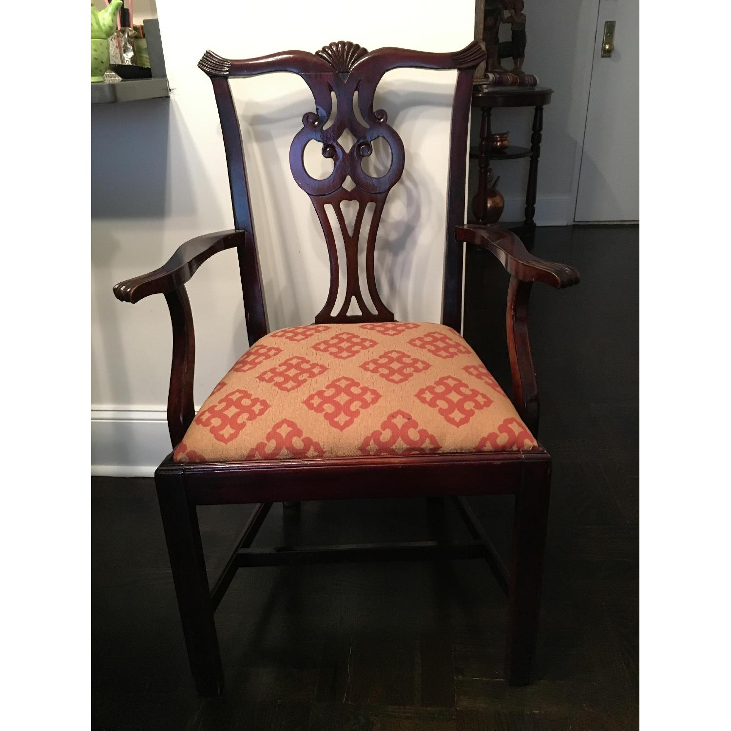 Vintage Chippendale Dining Chairs w/ Arms - image-1