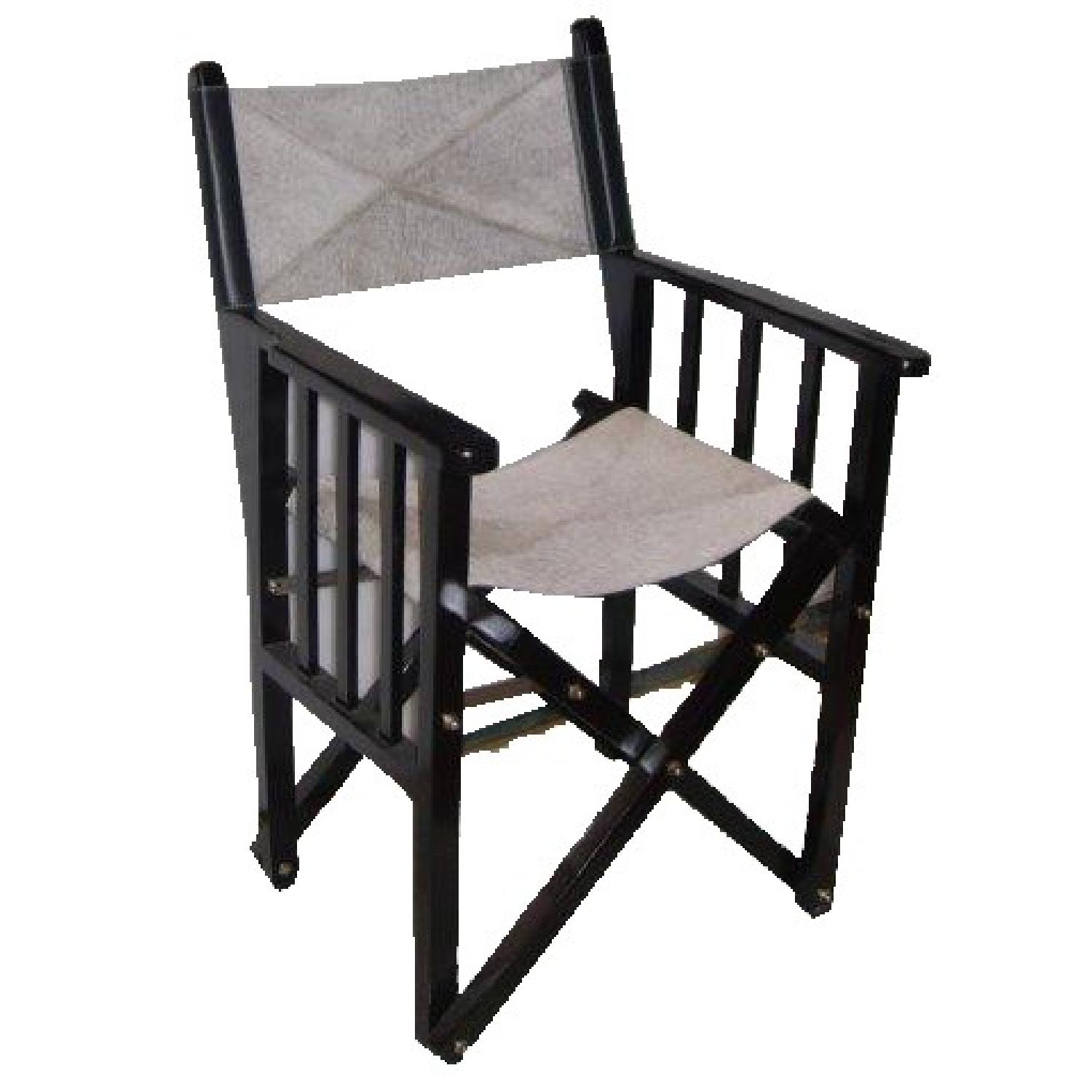 Wood Leather Folding Chair - image-0